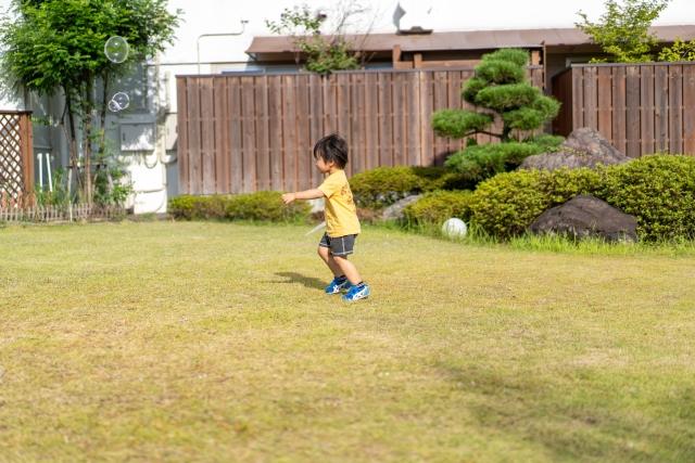 芝生で遊ぶ子供の写真
